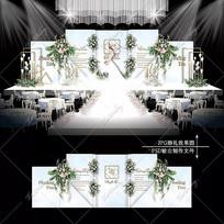 冰蓝色主题婚礼效果图设计大理石纹婚庆