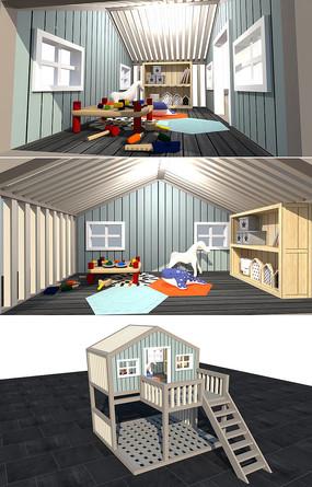 儿童木屋玩具房