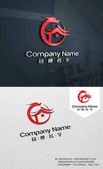酒店标志旅馆LOGO龙LOGO设计