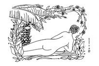 美女人物黑白插画
