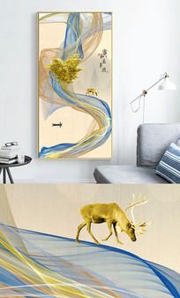 新中式麋鹿抽象线条玄关晶瓷画