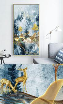 新中式麋鹿轻奢抽象线条玄关晶瓷画