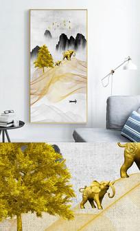 新中式麋鹿山水抽象线条轻奢玄关晶瓷画