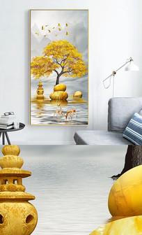 新中式石来运转现代轻奢抽象玄关晶瓷画