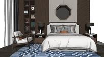 新中式双人床床头柜单椅组合