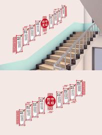 大气中式四书五经校园楼梯文化墙