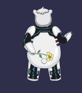穿机器服白熊背对拿花打招呼插画