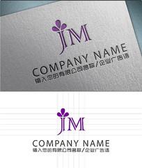 jm字母花朵LOGO标志设计
