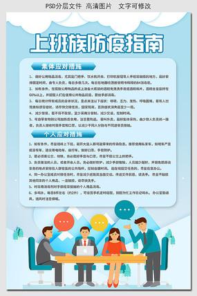蓝色冠状病毒预防指南海报
