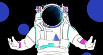 原创黑色背景白描宇航员插画海报封面