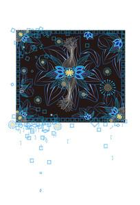 原创民族风花朵黑色背景装饰插画