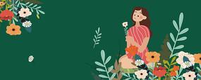 原创母妇女节矢量扁平手绘插画
