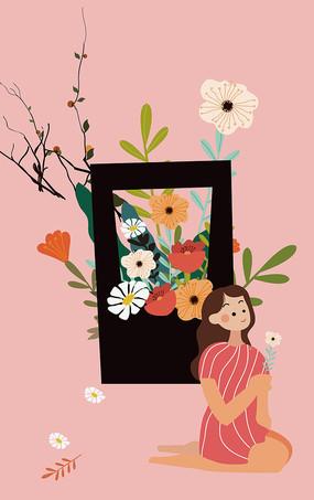 原创母亲节妇女节扁平手绘浪漫插画