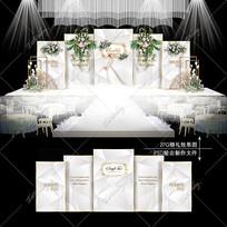 高级灰大理石纹婚礼舞台婚庆宴会背景喷绘