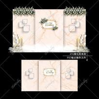 香槟色主题婚礼欧式复古婚庆迎宾区背景设计