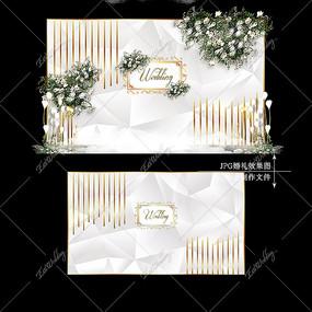 银色主题婚礼舞台背景宴会效果图设计婚庆