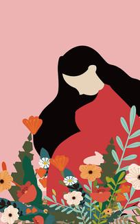 原创怀孕的女生母亲节矢量手绘扁平插画