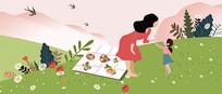 原创母亲带女儿游玩的母亲节矢量扁平插画