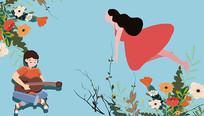 原创三八妇女节矢量扁平手绘插画