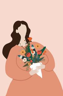 原创手捧鲜花的妇女节矢量扁平手绘插画
