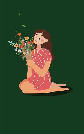 原创手捧鲜花的女生妇女节矢量扁平手绘插画