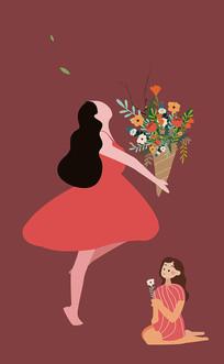 原创手捧鲜花的女生母亲节矢量插画