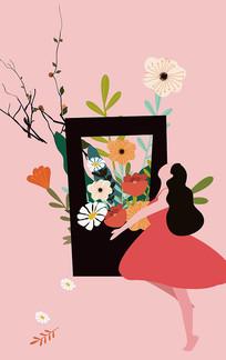 原创唯美手捧鲜花的妇女节矢量手绘插画