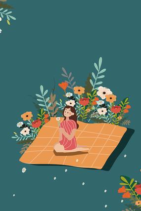 原创唯美手捧鲜花的女孩妇女节矢量插画