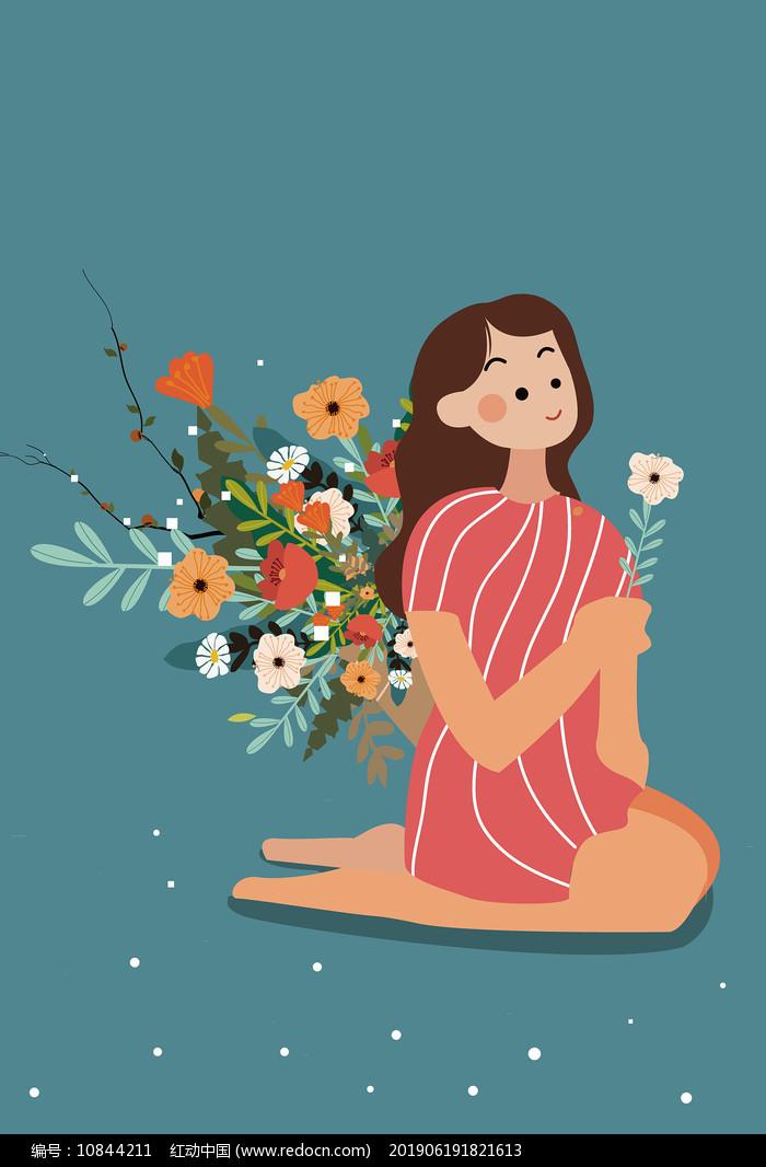 原创唯美手捧鲜花的女孩母亲节矢量插画图片