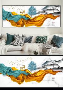 现代抽象立体动感线条飘带轻奢三联装饰画