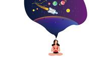 原创宇宙飞船遨游太空的手绘插画