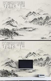 中式水墨电视墙背景墙