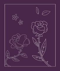 矢量线条花朵