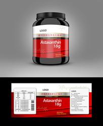 红色背景虾青素保健品标贴设计
