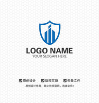 W字母安防安全LOGO设计
