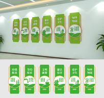 绿色简约清新校园学校食堂文化墙