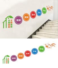 校园食堂楼梯文化墙设计