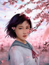 原创春天粉色桃花樱花户外花开少女插画海