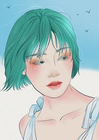原创绿色发少女海边清新户外插画