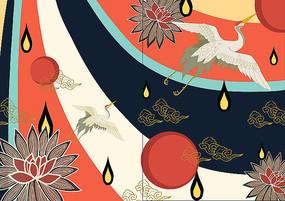 原创山海经仙鹤日系浮世绘古风装饰插画