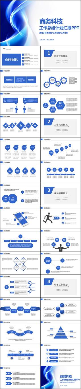 蓝色商务科技互联网年终总结PPT模板