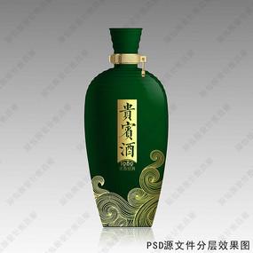 贵宾酒绿色酒瓶效果图