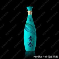 浅蓝色酒瓶效果图