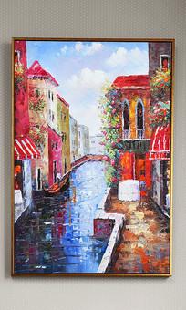 纯手绘立体油画水镇景致艺术玄关