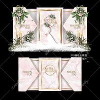 粉色婚礼舞台宴会效果图设计小清新迎宾区