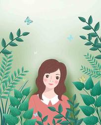 美女植物插画