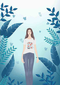 人植物插画