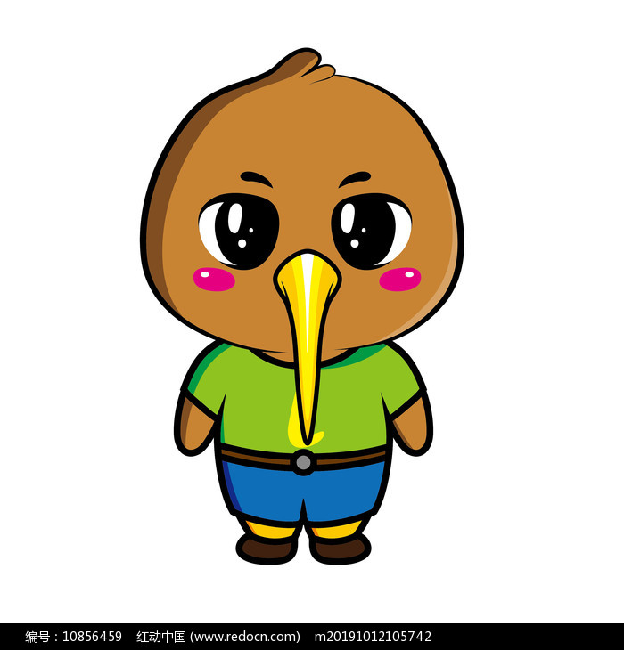 原创ai矢量可爱kiwi鸟卡通形象设计图片