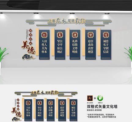 古典中国传统美德校园文化墙设计