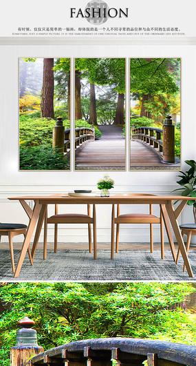 绿色油画唯美风景室内客厅装饰画